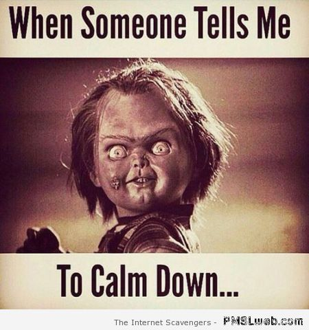 When someone tells me to calm down at PMSLweb.com