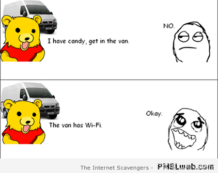 Pedobear has wifi in the van humor – Crazy Thursday at PMSLweb.com