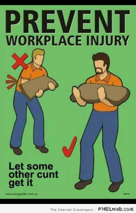 Prevent workplace injury humor at PMSLweb.com