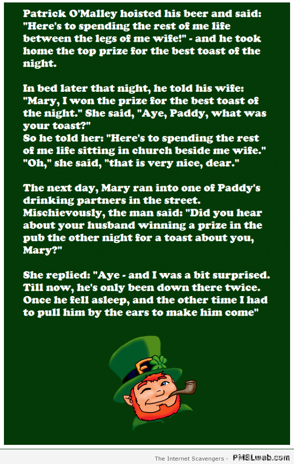 Paddy and his wife Irish joke at PMSLweb.com