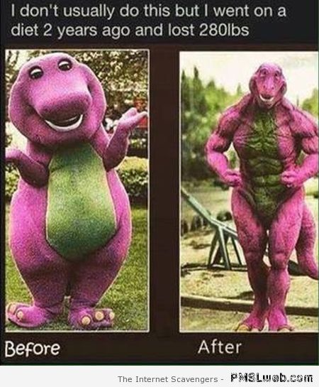 Funny Barney the dinosaur before and after at PMSLweb.com