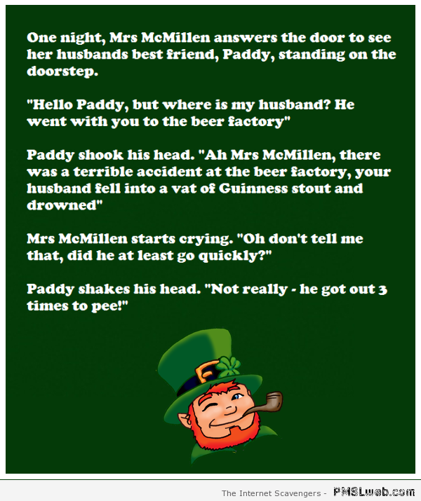 Paddy and the beer factory joke at PMSLweb.com