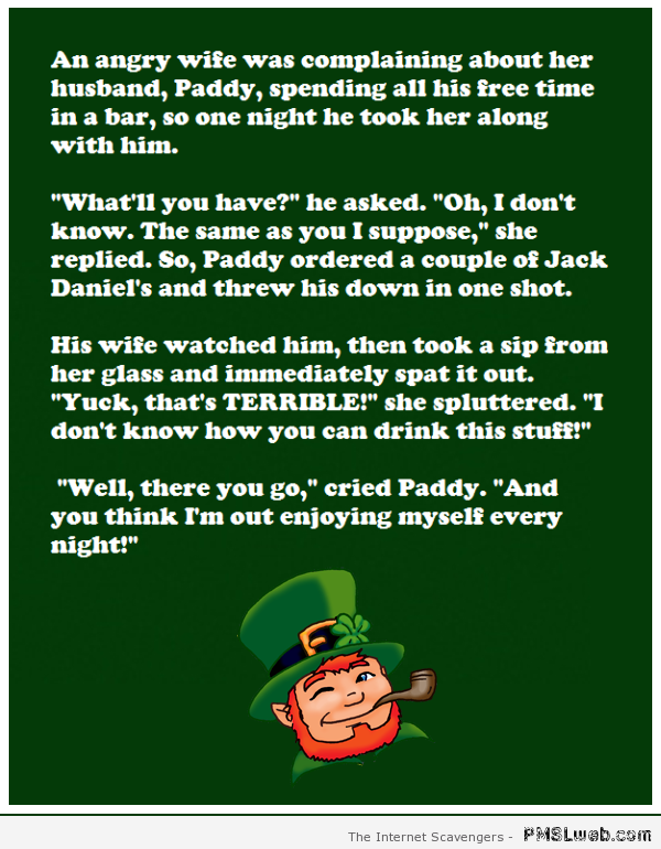 Irishman and wife at the pub joke at PMSLweb.com