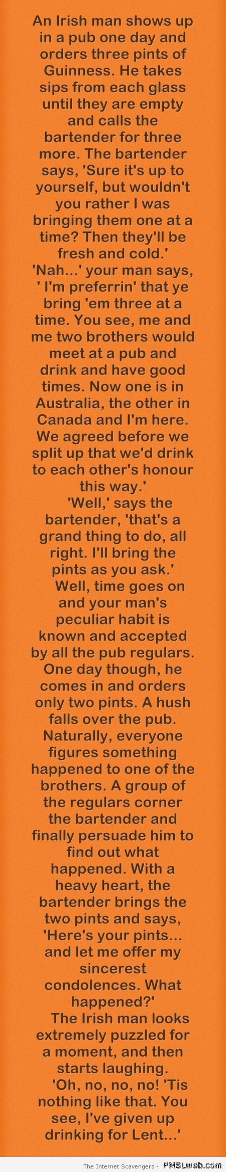 An Irish man shows up in a pub joke at PMSLweb.com