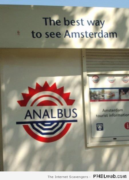 Funny Amsterdam bus sign at PMSLweb.com