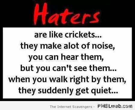 Haters are like crickets sarcasm at PMSLweb.com