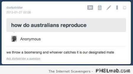 How do Australians reproduce funny comment at PMSLweb.com