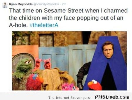 Funny Ryan Reynolds Sesame street A-hole – LOL pictures at PMSLweb.com