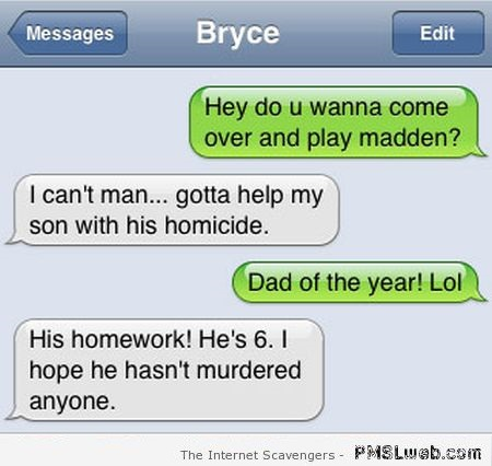 Help my son with his homicide iPhone fail at PMSLweb.com