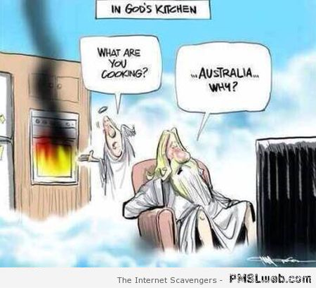 God cooking Australia funny cartoon at PMSLweb.com