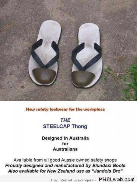 Funny Aussie steelcap thong at PMSLweb.com