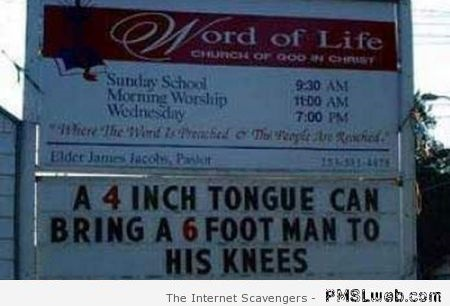 Funny church sign at PMSLweb.com