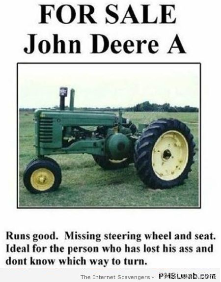 Funny tractor for sale advert – Weekend nonsense at PMSLweb.com
