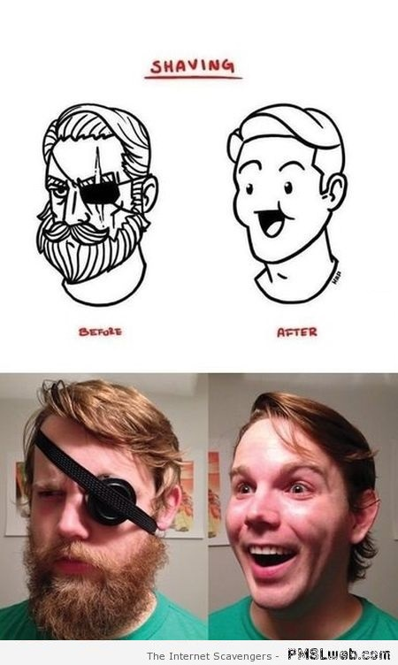 Funny before and after shaving at PMSLweb.com