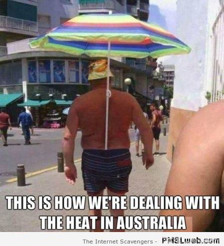 This is how we're dealing with the heat in Australia meme at PMSLweb.com
