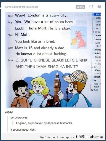 Funny England as portrayed by Japanese text books at PMSLweb.com