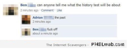 Funny history test Facebook comment – LOL pictures at PMSLweb.com