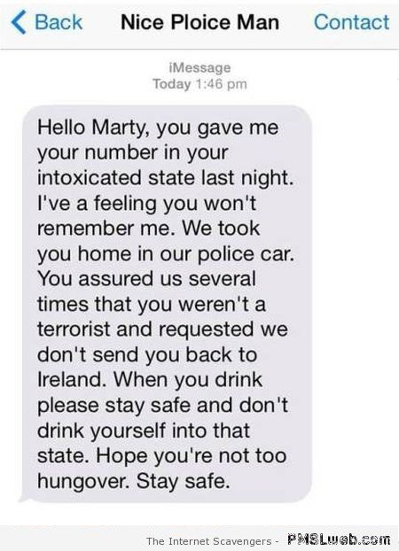 Funny policeman text message at PMSLweb.com