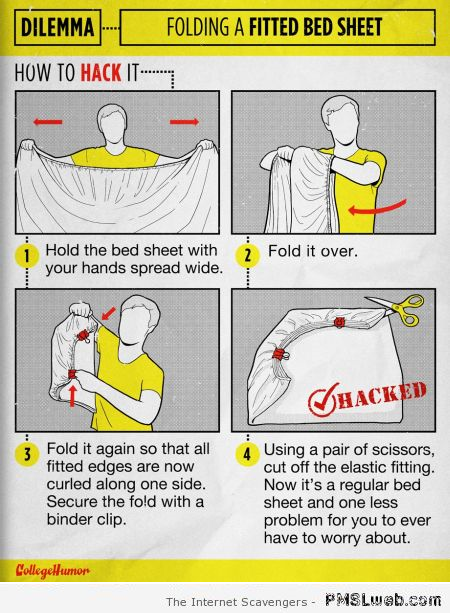 Funny fitted bed sheet hack at PMSLweb.com