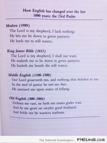 How English has changed over the years at PMSLweb.com