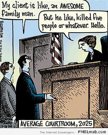 Courtrooms in the future funny cartoon at PMSLweb.com