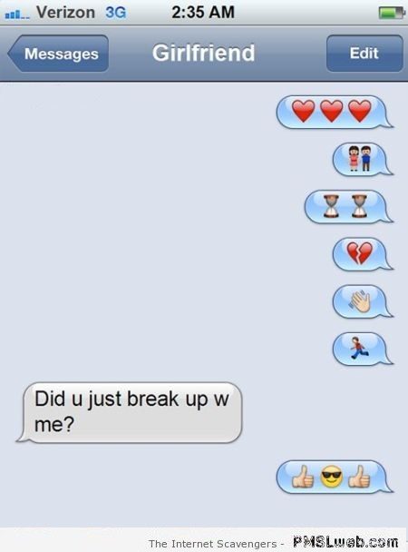 Breaking up via emojis humor at PMSLweb.com