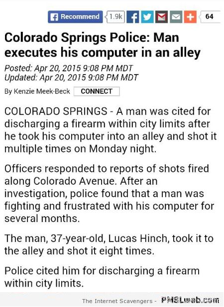 Man executes  his computer in alley at PMSLweb.com