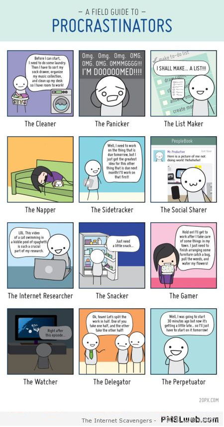 Field guide to procrastinators cartoon - PMSL pics at PMSLweb.com