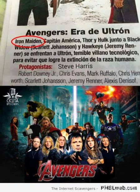 Funny Iron maiden in Avengers fail at PMSLweb.com