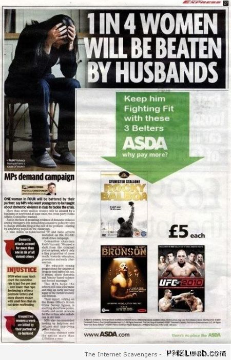 Funny advert placement fail at PMSLweb.com