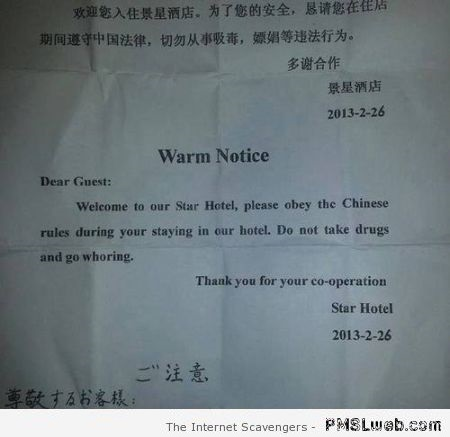 Funny Chinese hotel warning at PMSLweb.com