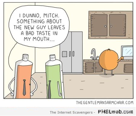 Funny toothpaste and orange cartoon at PMSLweb.com