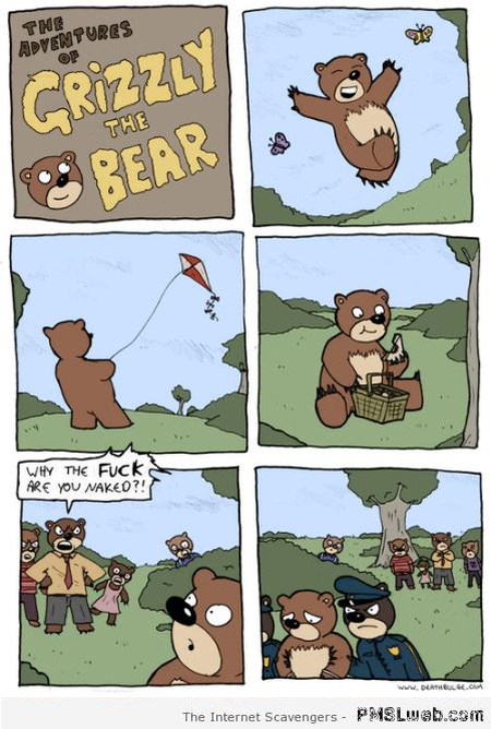 Funny grizzly bear cartoon at PMSLweb.com
