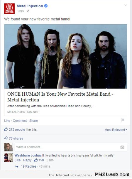 Funny metal band comment at PMSLweb.com