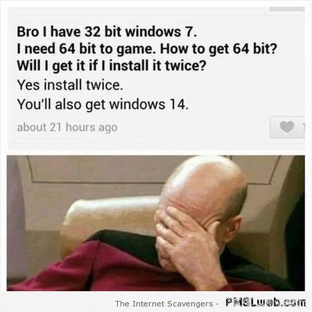 Turning 32 bits into 64 bits funny stupid people at PMSLweb.com