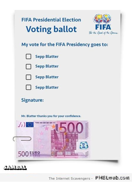 Funny my vote goes to Sepp Blatter – Jokey Monday at PMSLweb.com