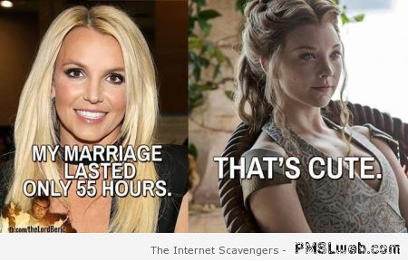 Funny Britney Spears vs margaery tyrell at PMSLweb.com