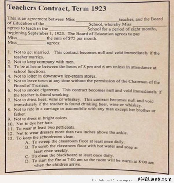 Funny vintage teacher's contract at PMSLweb.com