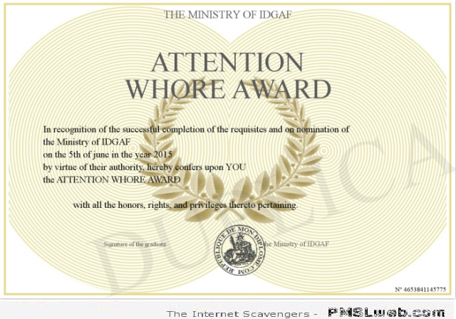 Attention wh*re certificate – Sarcastic Avenue at PMSLweb.com