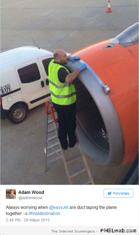Funny duct taping the plane comment at PMSLweb.com