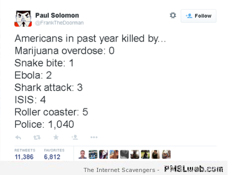 Kills in America during the past year humor at PMSLweb.com