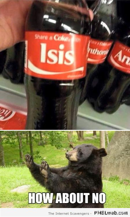 Share a coke with isis humor at PMSLweb.com