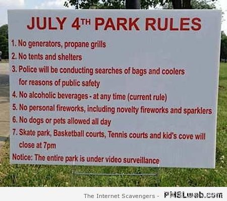 Funny July 4th rules at PMSLweb.com