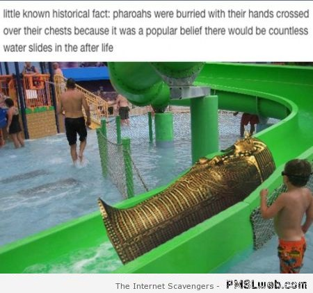 Funny why pharaohs are buried with their hands across their chest at PMSLweb.com