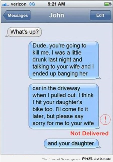 Funny text message not delivered fail at PMSLweb.com