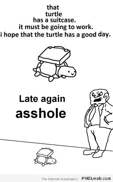 Turtle has a suitcase humor at PMSLweb.com