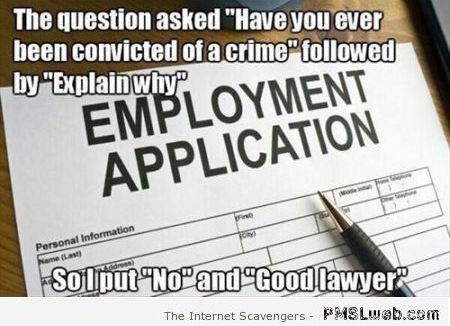 Have you ever been convicted of a crime meme at PMSLweb.com