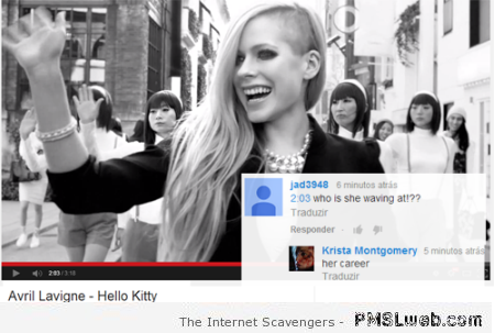 Funny Avril Lavigne youtube comment  - Tuesday LOL at PMSLweb.com