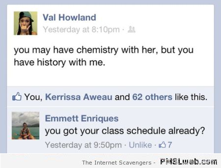 Funny class schedule Facebook fail – Weekend guffaws at PMSLweb.com