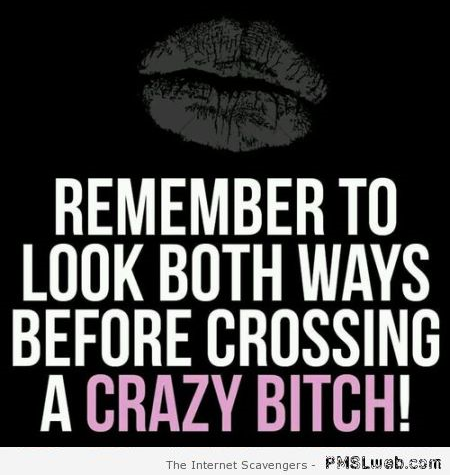 Remember to look both ways before crossing a crazy bitch at PMSLweb.com